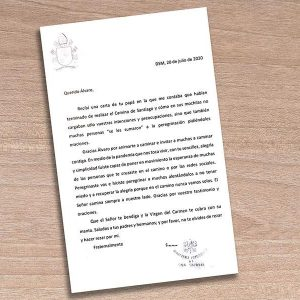 El papa Francisco escribe a un joven peregrino malagueño